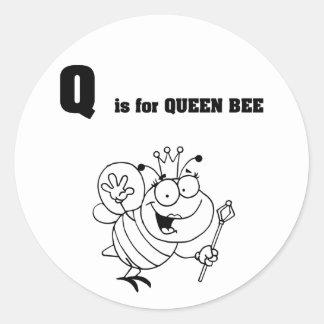 Q est pour des autocollants de reine des abeilles