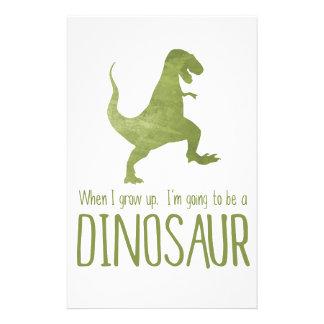 Quand je grandis, je vais être un dinosaure papier à lettre personnalisable