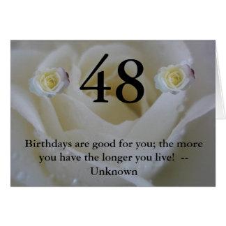 quarante-huitième Carte de voeux de rose blanc