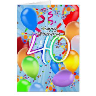 quarantième anniversaire - carte d'anniversaire de