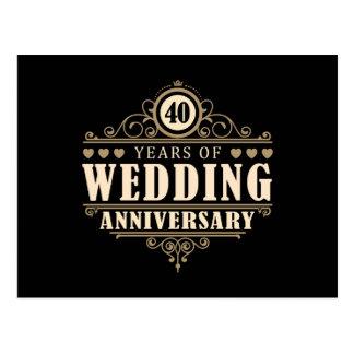 quarantième Anniversaire de mariage Carte Postale