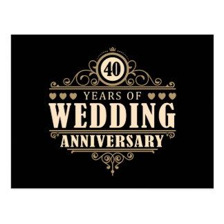 quarantième Anniversaire de mariage Cartes Postales