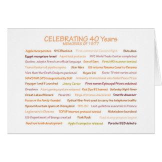 Quarantième carte d'anniversaire de 1977 souvenirs