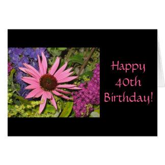 Quarantième carte d'anniversaire heureuse