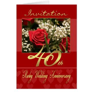 quarantième carte d'invitation d'anniversaire de