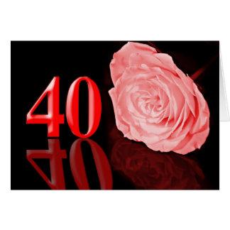 (Quarantième) carte rouge d'anniversaire de