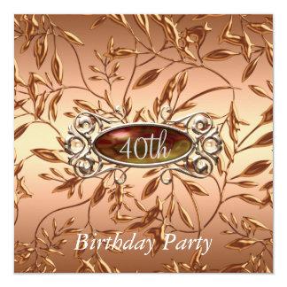 quarantième L'invitation de fête d'anniversaire Carton D'invitation 13,33 Cm