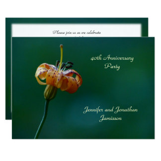 quarantième Lis de jaune d'invitation de fête Carton D'invitation 12,7 Cm X 17,78 Cm