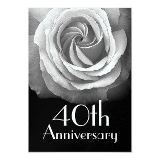 quarantième Rose blanc argenté d'anniversaire Carton D'invitation 12,7 Cm X 17,78 Cm