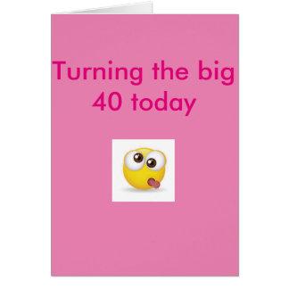 Quarantième rose de carte d'anniversaire de visage