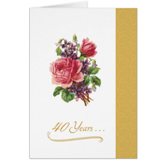 quarantième Roses roses romantiques d'anniversaire Carte De Vœux