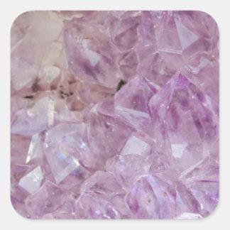 Quartz en cristal violet en pastel sticker carré
