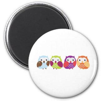 Quatre hiboux colorés magnets pour réfrigérateur