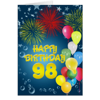 quatre-vingt-dix-huitième Carte d'anniversaire