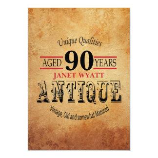 Quatre-vingt-dixième anniversaire d'antiquité carton d'invitation  12,7 cm x 17,78 cm