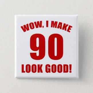 quatre-vingt-dixième Cadeau de bâillon Badge Carré 5 Cm