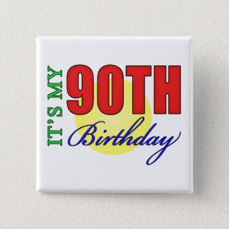 Quatre-vingt-dixième cadeaux de fête badge carré 5 cm