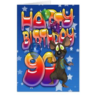 quatre-vingt-dixième Carte d'anniversaire mignonne