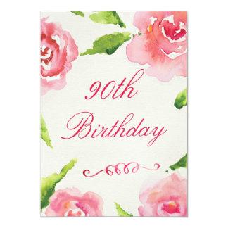 quatre-vingt-dixième Roses chics d'aquarelle Carton D'invitation 12,7 Cm X 17,78 Cm
