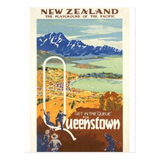 Queenstown, de Vintage Reis van Nieuw Zeeland Briefkaart