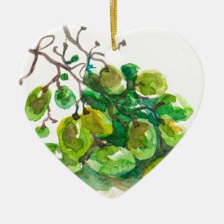 Quelques raisins ornement cœur en céramique