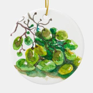 Quelques raisins ornement rond en céramique