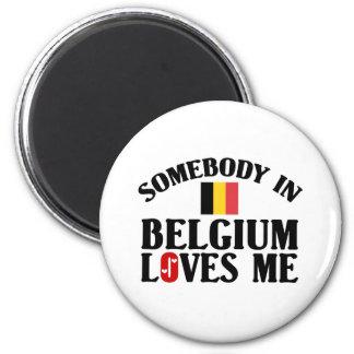 Quelqu'un en Belgique m'aime Magnet Rond 8 Cm