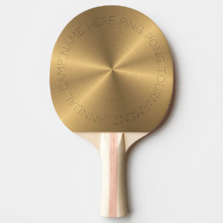 Radial métallique personnalisé d'or d'acier raquette de ping pong