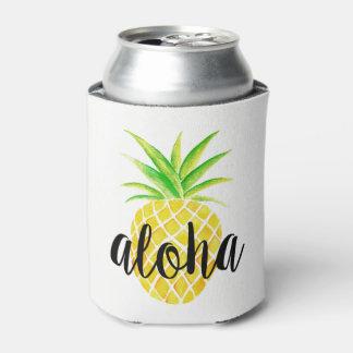 Rafraichisseur De Cannettes Monogramme tropical d'aquarelle d'ananas Aloha