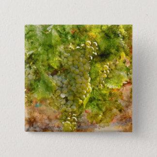 Raisins de chardonnay sur la vigne badge carré 5 cm