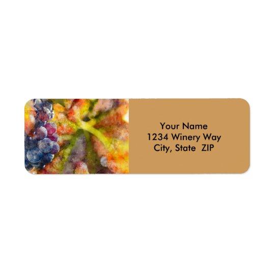 Raisins de cuve d'aquarelle sur la vigne étiquettes d'adresse retour