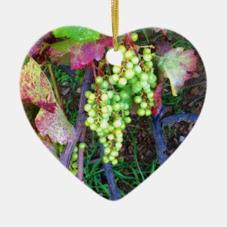 Raisins naturels ornement cœur en céramique