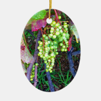 Raisins naturels ornement ovale en céramique
