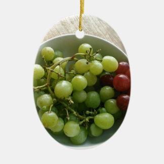 raisins ornement ovale en céramique