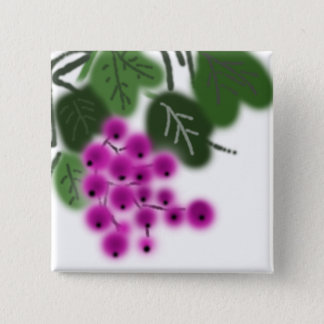 raisins pourpres et feuille vert badge carré 5 cm