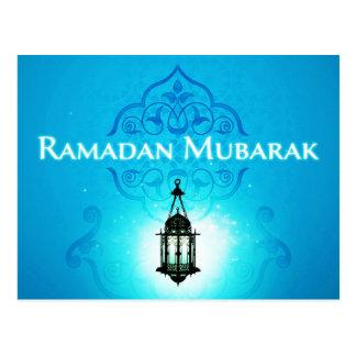 Ramadan Mubarak au bel arrière-plan bleu Cartes Postales