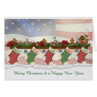 rangée des bas militaires de Noël Carte