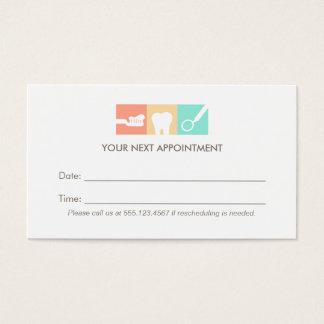 Rappel de rendez-vous de bureau de dentiste cartes de visite