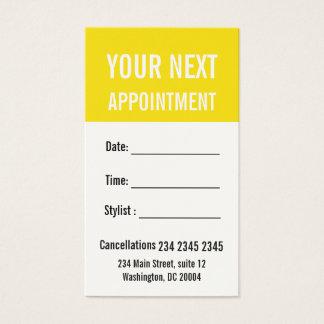 Rappel professionnel jaune de rendez-vous de cartes de visite