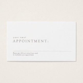 Rappel professionnel simple de rendez-vous cartes de visite