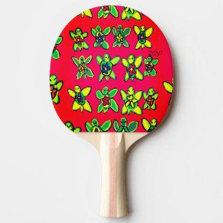 Raquette De Ping Pong Art de fleur de tortue