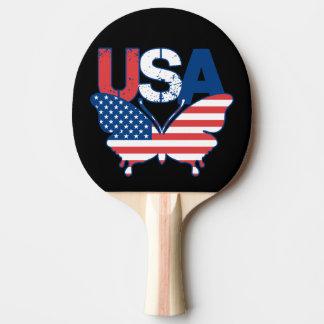 Raquette De Ping Pong Bleu blanc rouge Etats-Unis de papillon de drapeau