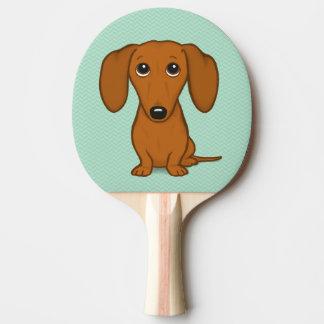 Raquette De Ping Pong Chien mignon de saucisse de bande dessinée du