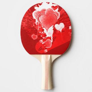 Raquette De Ping Pong Coeurs rouges avec des ailes