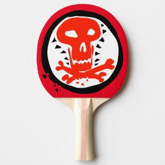 Raquette De Ping Pong crâne et os rouges et illustration noire