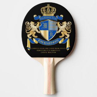 Raquette De Ping Pong Créez votre propre manteau d'emblème bleu de lion