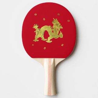 Raquette De Ping Pong Dragon chinois d'or