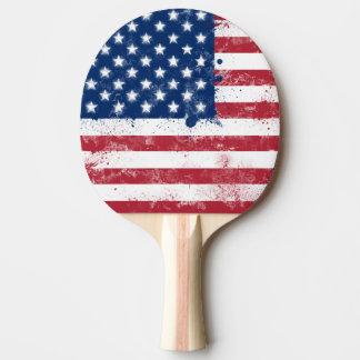 Raquette De Ping Pong Drapeau des Etats-Unis peint par éclaboussure