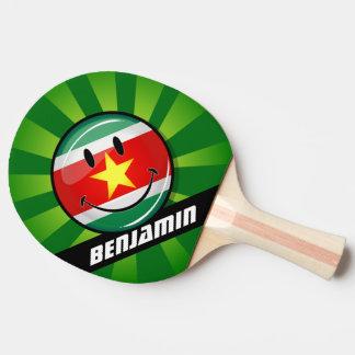 Raquette De Ping Pong Drapeau rond brillant du Surinam