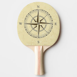 Raquette De Ping Pong Ivoire nautique vintage de rose de boussole